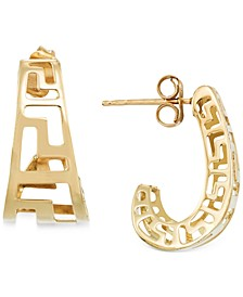 Greek Key J-Hoop Earrings in 14k Gold