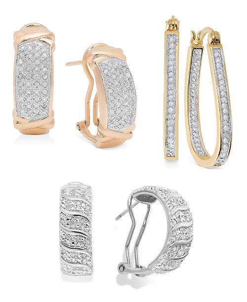 Macy's Diamond Hoop Earring Collection