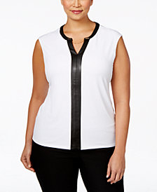 Calvin Klein Plus Size Faux Leather-Trim Cap-Sleeve Top