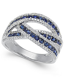 Royale Bleu by EFFY® Sapphire (1 ct. t.w.) and Diamond (3/8 ct. t.w.) Interwoven Ring in 14k White Gold (Also Available in Ruby and Emerald)
