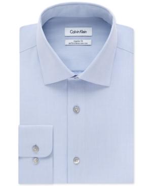 Calvin Klein Men's Steel Classic-fit Non-iron Performance Herringbone Spread Collar Dress Shirt In Blue