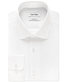 Calvin Klein Men's STEEL Classic-Fit Non-Iron Performance Herringbone Spread Collar Dress Shirt