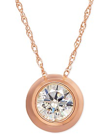 Bezel-Set Cubic Zirconia Pendant Necklace in 14k Yellow Gold or Rose Gold