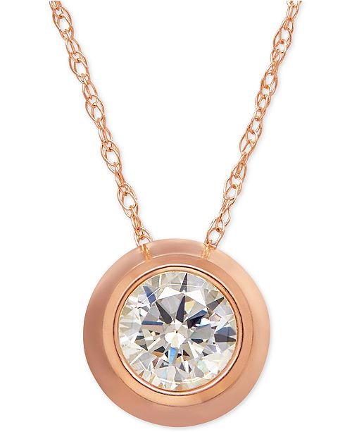 Macy's Bezel-Set Cubic Zirconia Pendant Necklace in 14k Yellow Gold or Rose Gold