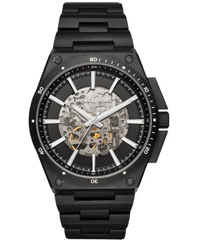 michael kors mens watches macy s michael kors men s automatic wilder black ion plated stainless steel bracelet watch 44mm mk9023