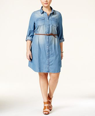 American Rag Plus Size Belted Chambray Shirtdress Created For