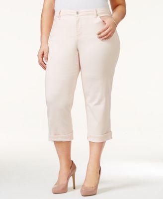 Style & Co Plus Size Tummy-Control Capri Jeans
