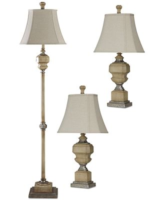 Stylecraft set of 3 antique caramel finish lamps 1 floor lamp 2 table lamps