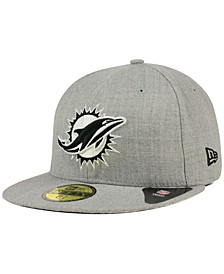 Miami Dolphins Heather Black White 59FIFTY Fitted Cap