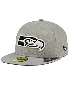 New Era Seattle Seahawks Heather Black White 59FIFTY Fitted Cap