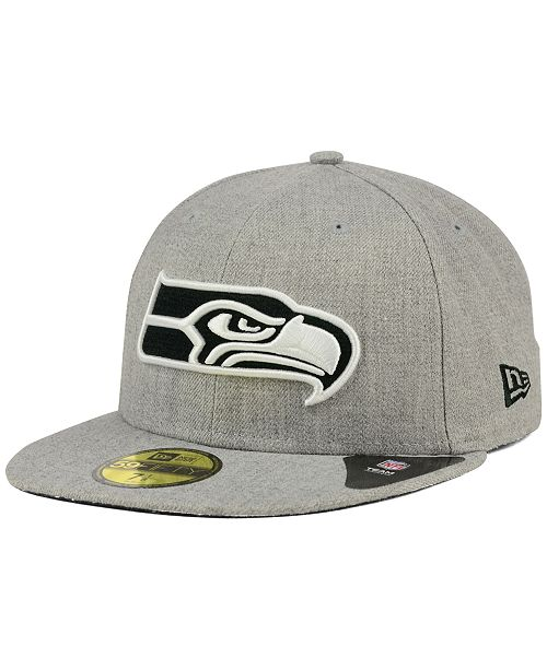 ... New Era Seattle Seahawks Heather Black White 59FIFTY Fitted Cap ... b9441daac