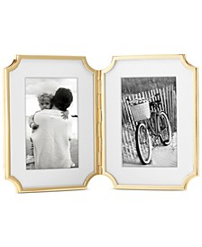 "new york Sullivan Street Collection 4"" x 6"" Gold-Plated Hinged Double Frame"