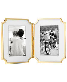 "kate spade new york Sullivan Street Collection 4"" x 6"" Gold-Plated Hinged Double Frame"
