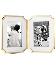 """kate spade new york Sullivan Street Collection 4"""" x 6"""" Gold-Plated Hinged Double Frame"""