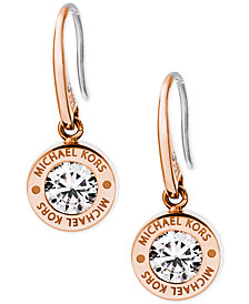 Michael Kors Bezel Set Crystal Logo Drop Earrings