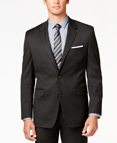 Alfani Men's Traveler Black Solid Classic-Fit Jacket, Created for Macy's
