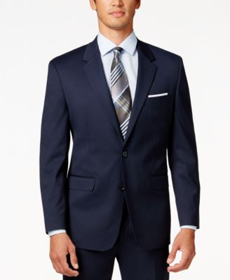 Men's Traveler Navy Solid Big and Tall Classic-Fit Jacket, Created for Macy's