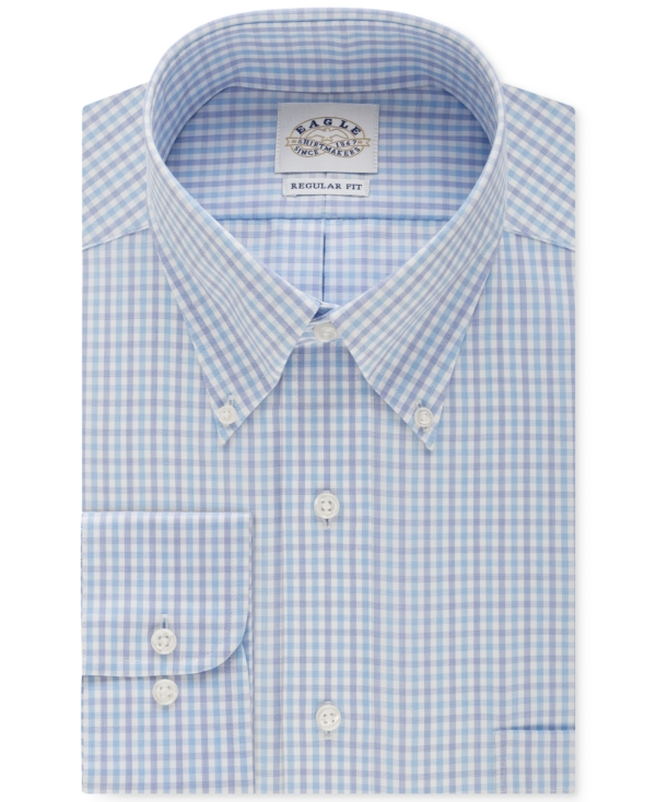Eagle Men's Big and Tall Non-Iron Aquamarine Check Dress Shirt