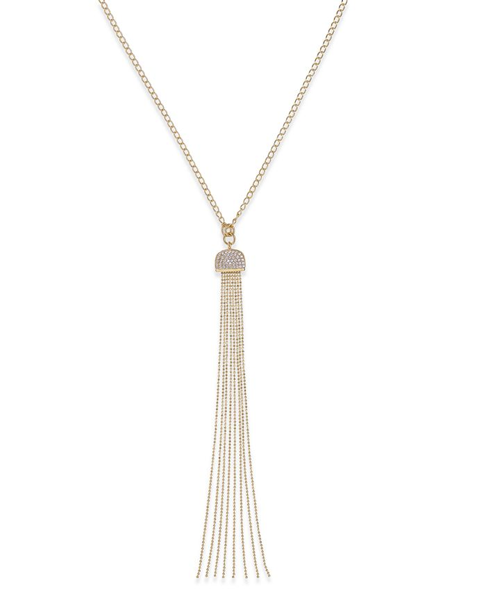 Macy's - Diamond Tassel Pendant Necklace (1/2 ct. t.w.) in 14k Gold-Plated Sterling Silver