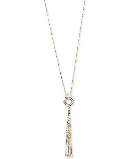 Macy's Diamond Tassel Lariat Adjustable Necklace (1/6 ct. t.w.) in 14k Gold