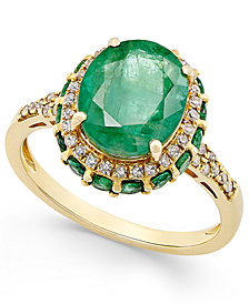 Emerald (3-1/2 ct. t.w.) and White Sapphire (1/3 ct. t.w.) Oval Ring in 10k Gold