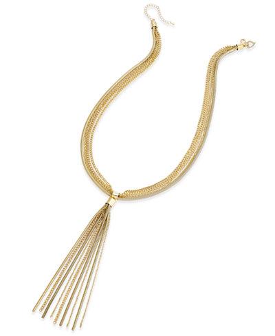 Thalia Sodi Gold-Tone Multi-Chain Tassel Statement Necklace, Created for Macy's