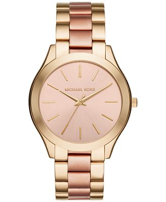 Michael Kors Unisex Slim Runway Two-Tone Stainless Steel Bracelet Watch 42mm MK3493