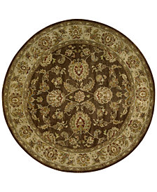 Nourison Rajah Antique Tabriz Brown 8'  Round Rug