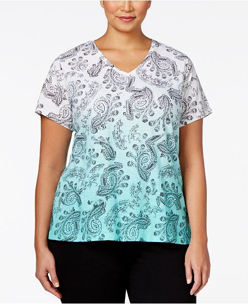 c58cb82e7 Style & Co Plus Printed V-Neck T-Shirt, Created for Macy's & Reviews ...