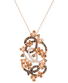Crazy Collection® Diamond Fancy Scroll Floral Pendant Necklace (1-1/5 ct. t.w.) in 14k Rose Gold