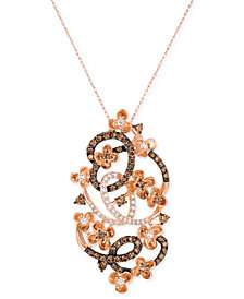 Le Vian Crazy Collection® Diamond Fancy Scroll Floral Pendant Necklace (1-1/5 ct. t.w.) in 14k Rose Gold