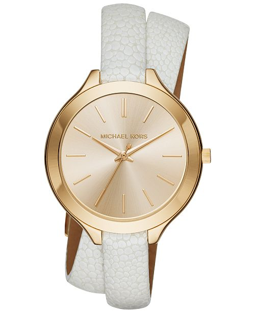 bec128008dc6 ... Michael Kors Women s Slim Runway White Leather Double-Wrap Strap Watch  42mm MK2477 ...
