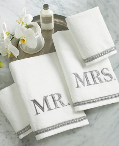 Avanti bath towels mr mrs 4 piece towel set bath for Mr and mrs spa