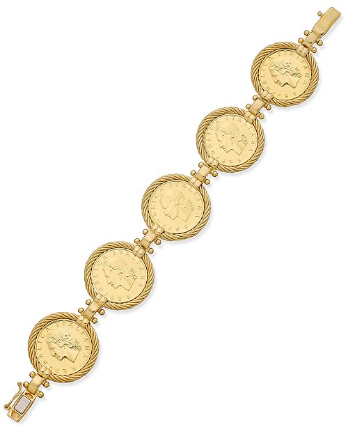 Italian Gold Lire Coin Bracelet In 14k