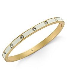 Gold-Tone Crystal Enamel Hinged Bangle Bracelet