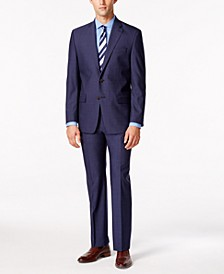 Men's Medium Blue Solid Classic-Fit Suit Separates