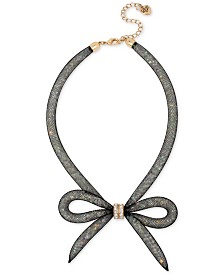 Betsey Johnson Mesh Bow Collar Necklace