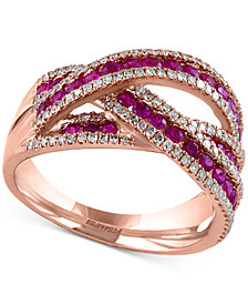 Rosa by EFFY® Ruby (1 ct. t.w.) and Diamond (3/8 ct. t.w.) Interwoven Ring in 14k Rose Gold(Also Available in Sapphire and Emerald)
