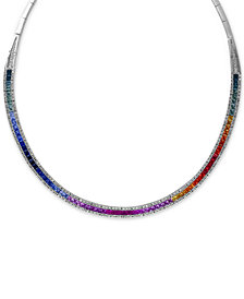 Watercolors by EFFY Multi-Sapphire (10 ct. t.w.) and Diamond (1-1/5 ct. t.w.) Collar Necklace in 14k White Gold