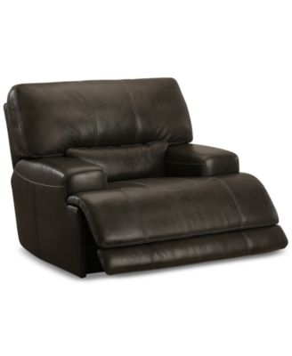CLOSEOUT! Warrin Leather Power Glider Recliner, Created for Macy's