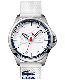 Lacoste Men's Capbreton White Silicone Strap Watch 46mm 2010841