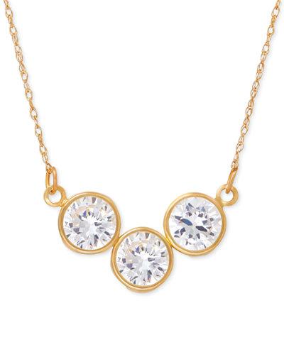 Cubic Zirconia Trio Collar Necklace in 14k Gold