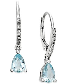 Aquamarine (1-1/10 ct. t.w.) and Diamond (1/10 ct. t.w.) Drop Earrings 14k White Gold