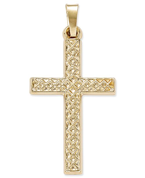 Macy's Patterned Square Cross Pendant in 14k Yellow Gold