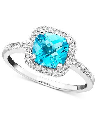 Blue Topaz (1-3/8 ct. t.w.) & Diamond (1/5 ct. t.w.) Ring in 10k White Gold