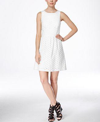 kensie Eyelet Fit & Flare Dress
