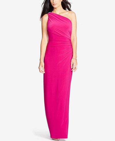 Lauren Ralph Lauren One Shoulder Brooch Gown Dresses