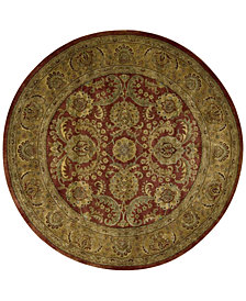 Nourison Round Area Rug, Rajah Collection JA17 Isfahan Burgundy 6'