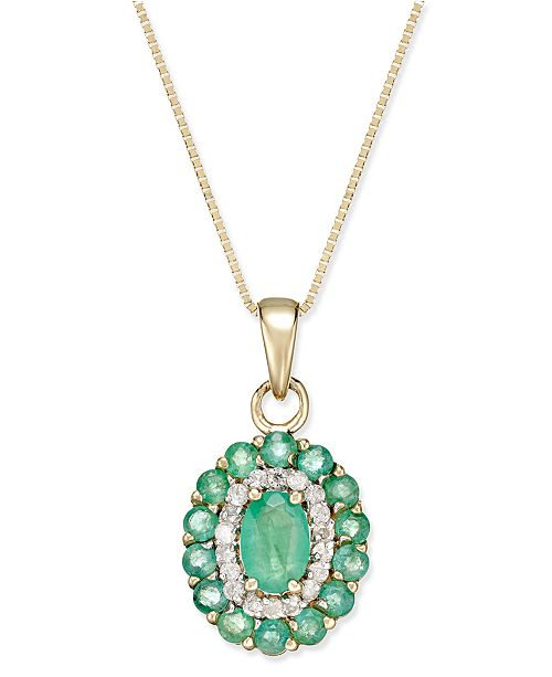 Macy's Emerald (1-5/8 ct. t.w.) and Diamond (1/6 ct. t.w.) Oval Floral Pendant Necklace in 14k Gold