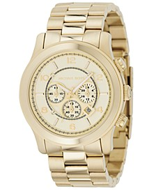 Men's Chronograph Runway Gold-Tone Stainless Steel Bracelet Watch 44mm MK8077
